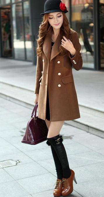 咖啡色呢子外套 搭配出炫彩时尚